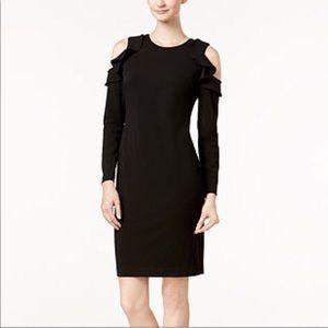 Calvin Klein Ruffle Cold Shoulder Sheath Dress